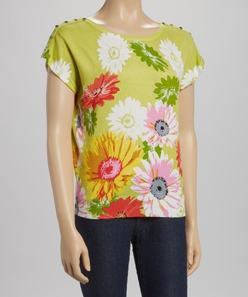 Green & Pink Floral Dolman Top