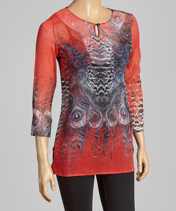 Red Peacock Keyhole Top