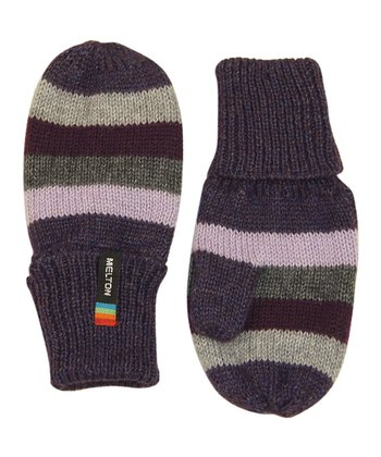 Purple & Lavender Stripe Wool-Blend Mittens