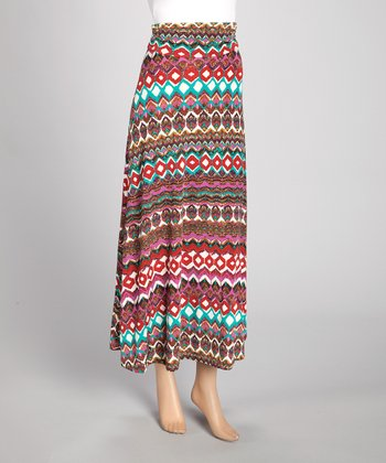 Red & Teal Tribal Maxi Skirt