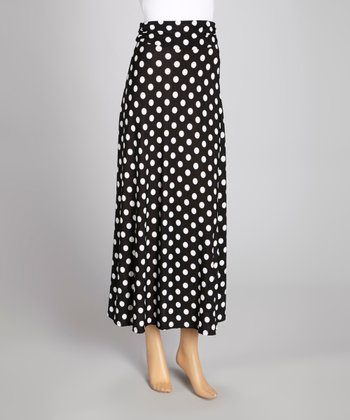 Black & White Polka Dot Maxi Skirt