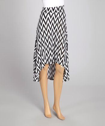 Black & White Zigzag Hi-Low Skirt