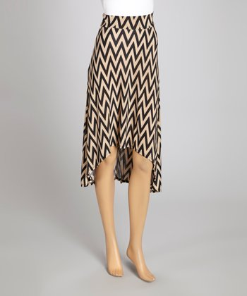 Mocha & Black Zigzag Hi-Low Skirt