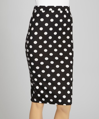 Black & White Polka Dot Midi Skirt