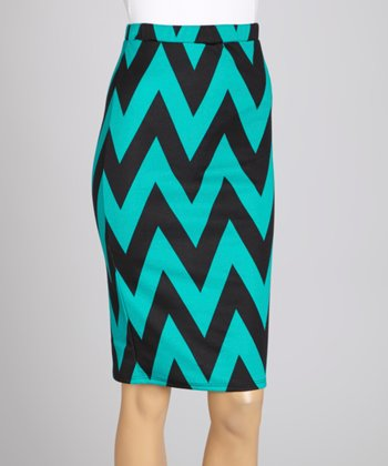 Teal & Black Zigzag Midi Skirt