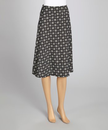 Black & White Geometric A-Line Skirt
