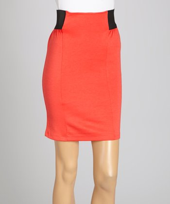 Coral Color Block Pencil Skirt
