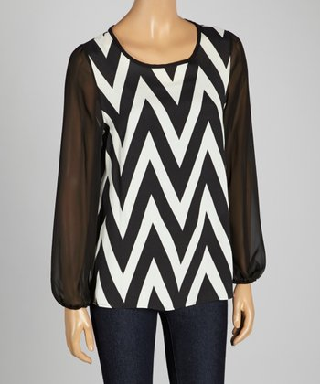 Black & White Zigzag Sheer Scoop Neck Top