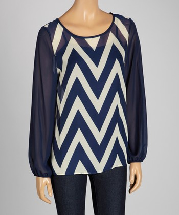 Navy & White Zigzag Sheer Scoop Neck Top