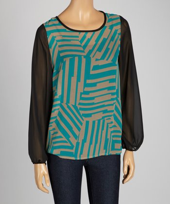 Teal & Black Geometric Scoop Neck Top