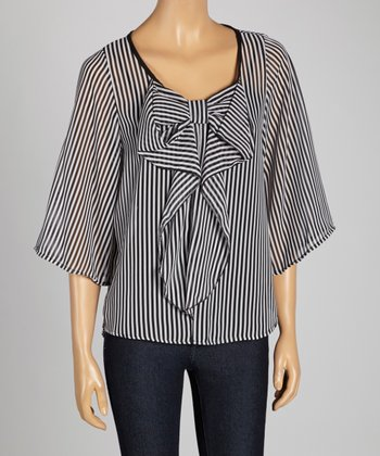 Black & White Stripe Bow-Tie Cape-Sleeve Top
