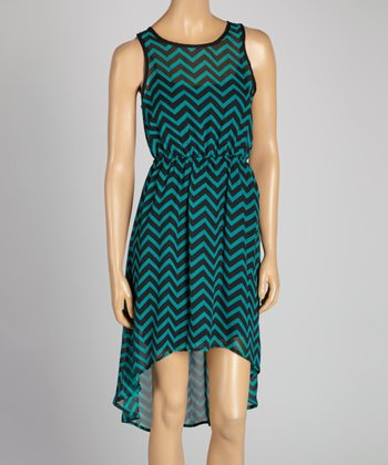 Teal & Black Zigzag Hi-Low Dress