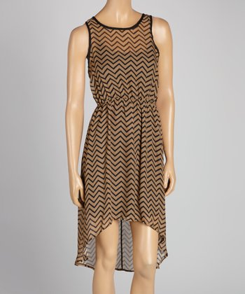 Mocha & Black Zigzag Hi-Low Dress