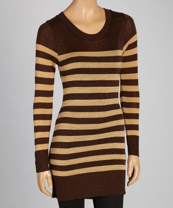 Brown & Khaki Stripe Tunic Sweater