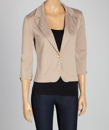 Khaki Three-Quarter Sleeve Blazer