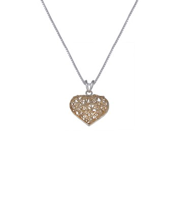 Gold & Sterling Silver Woven Heart Pendant Necklace