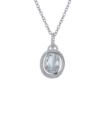 Green Amethyst & Sterling Silver Circled Oval Pendant Necklace
