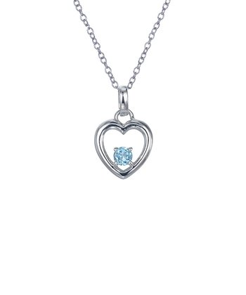 Blue Topaz & Sterling Silver Heart Cutout Pendant Necklace