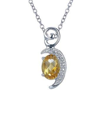 Citrine & Sterling Silver Crescent Pendant Necklace