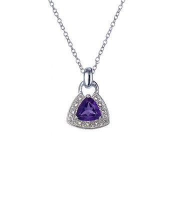 Amethyst & Sterling Silver Triangle Frame Pendant Necklace
