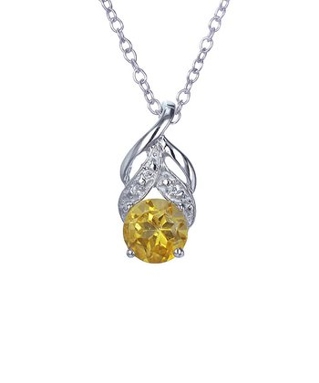 Citrine & Sterling Silver Circle Swirl Pendant Necklace