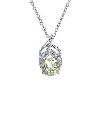 Lemon Quartz & Sterling Silver Circle Swirl Pendant Necklace