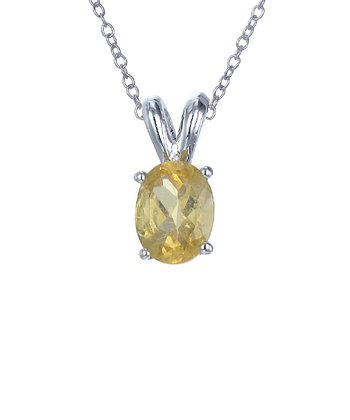 Citrine & Sterling Silver Oval Loop Pendant Necklace
