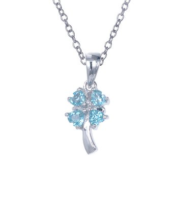 Blue Topaz & Sterling Silver Four-Heart Clover Pendant Necklace