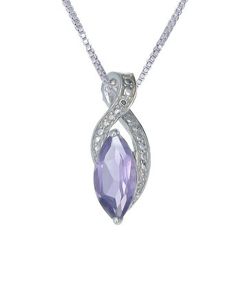Amethyst & Sterling Silver Spheroid Pendant Necklace