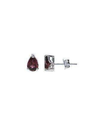 Rhodolite & Sterling Silver Teardrop Stud Earrings