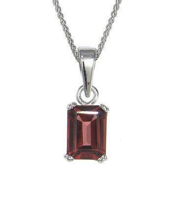 Garnet & Sterling Silver Emerald-Cut Pendant Necklace