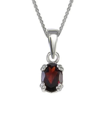 Garnet & Sterling Silver Oval Pendant Necklace