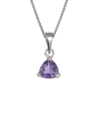 Amethyst & Sterling Silver Triangle Pendant Necklace