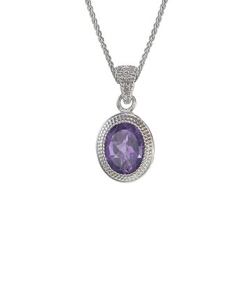 Amethyst & Sterling Silver Framed Oval Pendant Necklace
