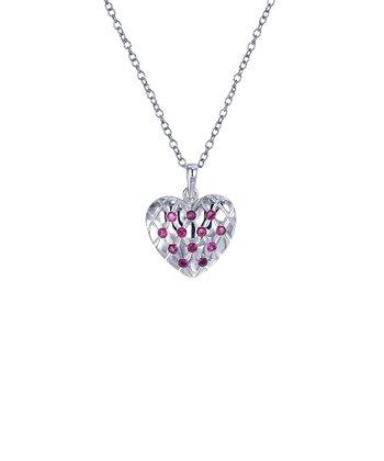 Ruby & Sterling Silver Lattice Heart Pendant Necklace