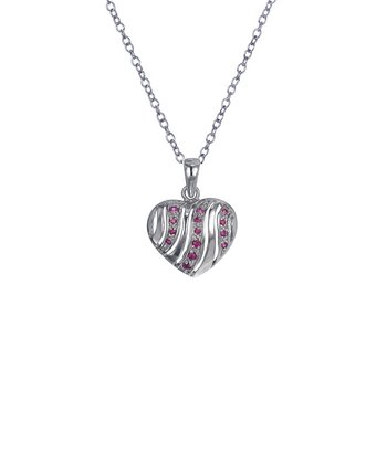Ruby & Sterling Silver Stripe Heart Pendant Necklace