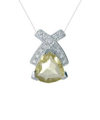 Quartz & Sterling Silver Triangle Crisscross Pendant Necklace