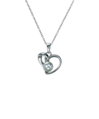 Pearl & Sterling Silver Heart Outline Pendant Necklace