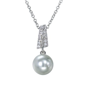 Pearl & Sterling Silver Panel Pendant Necklace