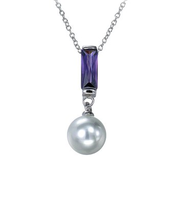 Pearl & Sterling Silver Rectangle Pendant Necklace