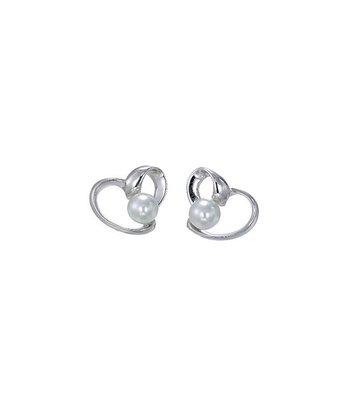 Pearl & Sterling Silver Huggie Earrings
