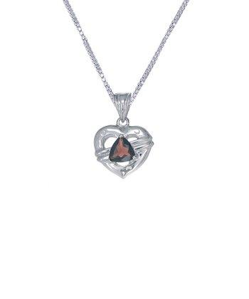 Garnet & Sterling Silver Triangle Heart Pendant Necklace