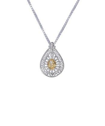 Citrine & Sterling Silver Teardrop Cutout Pendant Necklace