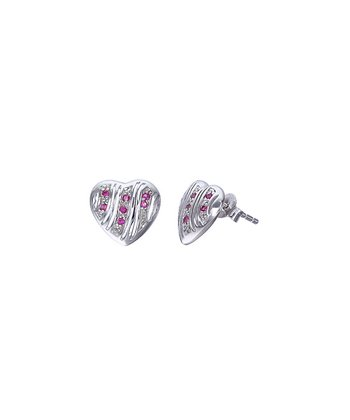 Ruby & Sterling Silver Heart Stud Earrings