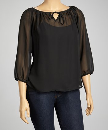 Black Peasant Top - Plus