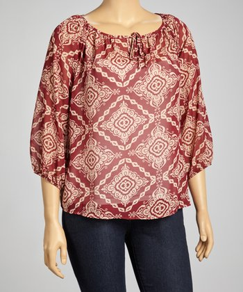 Burgundy & Beige Embellished Peasant Top - Plus