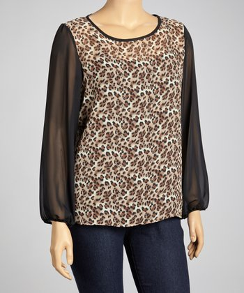 Khaki Leopard Scoop Neck Top - Plus
