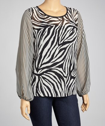 Black & White Zebra Scoop Neck Top - Plus