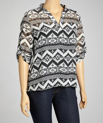 Black & White Tribal V-Neck Top - Plus