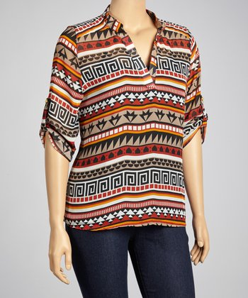 Brown Tribal V-Neck Top - Plus